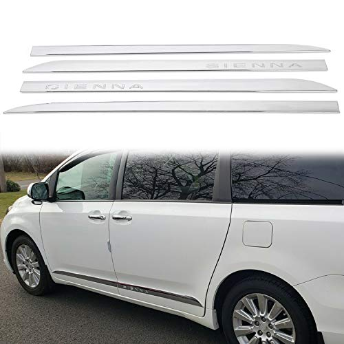 ECOTRIC Chrome Outside Door Body Side Molding Trim W/Tape Compatible with 11-20 Toyota Sienna (4 Pcs)