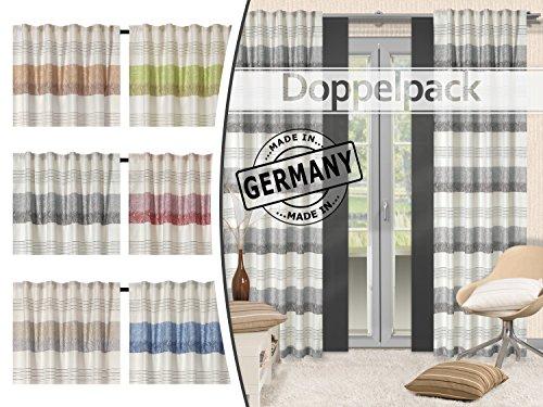 Home Decoration Doppelpack - blickdichte Fertigvorhänge mit verdeckten Schlaufen - Mallorca Made in Germany - Florale Blattmusterung in 6 Farben, anthrazit
