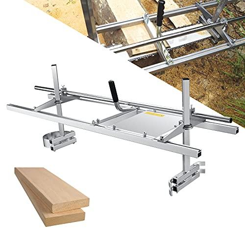 TOPQSC Chaîne Scie à Chaîne portative 48 Pouces Chainsaw Mill Moulin à scie en Aluminium Moule à scier en Acier Inoxydable Convient Moulin à scie à (18'-48')
