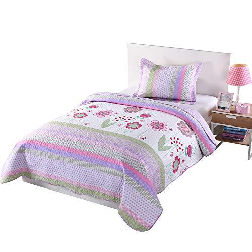 Grün World 2Stück Kinder Tagesdecke Quilts-Set, Überwurf Decke für Jugendliche Jungen Mädchen Bett Bedruckte Bettwäsche Überwurf, Twin Size, Polyester-Mischgewebe, Purple Striped, Twin