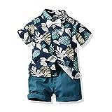 TiaoBug Jungen Kurzarm Hawaii Hemd mit Fliege und Kurze Hose Sommer Freizeit Shorts Strand Urlaub Kleidung Set gr.80-116 Bedruckt 92-98