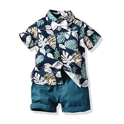 Alvivi Jungen Hawaiihemd mit Shorts Fliege Kleinkind Aloha Shirt Hemd Sommer Freizeit Shorts Kleidung Set Outfits Blaugrün 92-98/2-3 Jahre