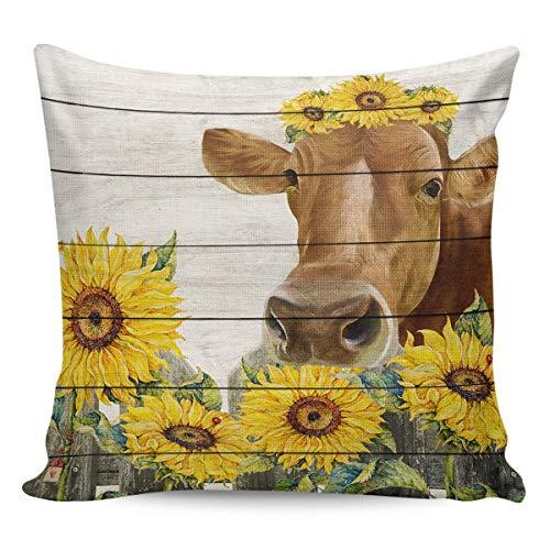 Funda de Cojine Fundas de almohada Ganado de granja con girasol en la valla Fundas de almohada decorativas Cubre grano de madera Throw Cojín 45 X 45 CM