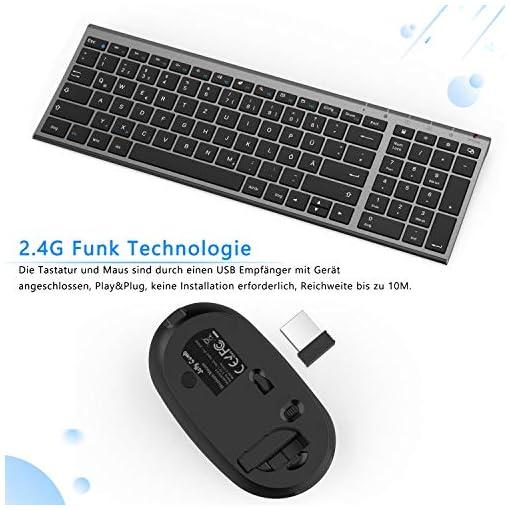 Jelly Comb Teclado inalámbrico con Ratón - Mini teclado ultradelgado inalámbrico 2.4G y Ratón USB recargable para PC… 3