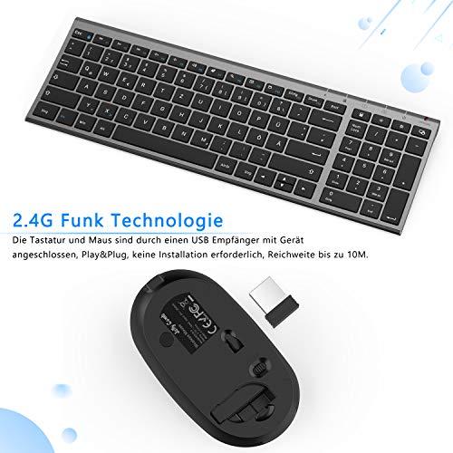 Jelly Comb Funktastatur mit Maus Set, 2.4G Kabellose Ultraslim Mini Tastatur und USB Maus Wiederaufladbar für PC, Laptop, Smart TV usw, QWERTZ Deutsches Layout, Schwarz und Grau