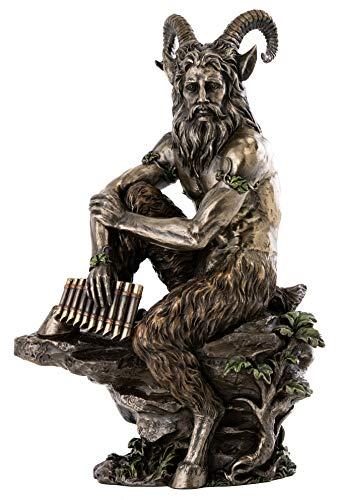 Top Collection Ancient Greek Mythology Pan Statue Holding Panpipes - God of The Wild & Nature Sculpture in Premium Cold Cast Bronze - 10.5-Inch Horned Pagan Collectible Figurine