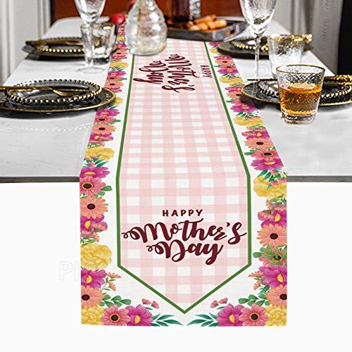 Camino de Mesa del Día de la Madre, Material de Lino, Decoración de la Mesa del Día de la Madre 178x33cm