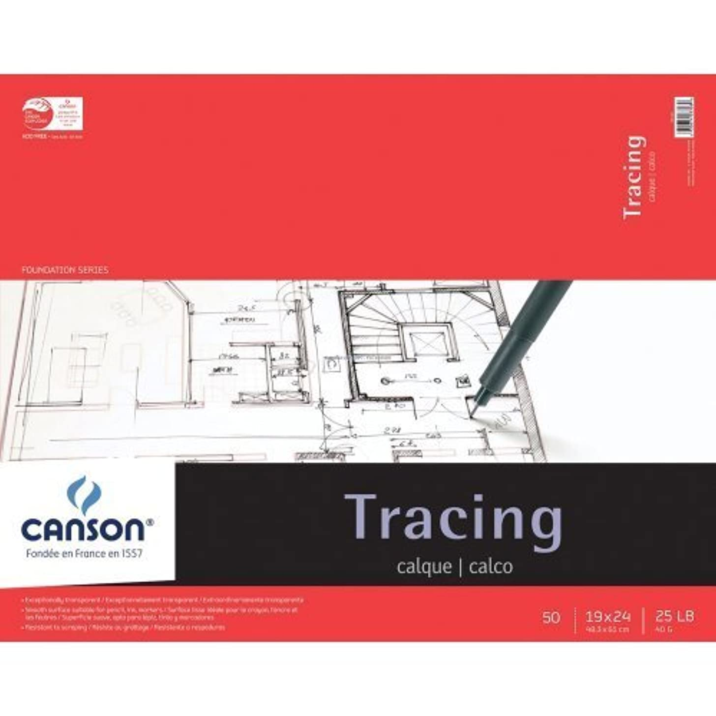 Pro-Art 702324 Canson Tracing Paper Pad, 19 X 24-Inch, 50 Sheets