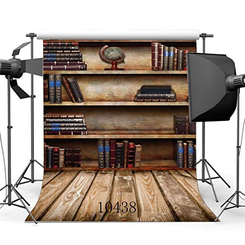 EdCott 5X7FT 150X210cm Bücherregal Hintergrund Innen Bibliothek Bücherschrank Arbeitszimmer Bücher Rustikale Streifen Holz Plank Decor Tapete Vinyl Fotografie Hintergrund Kinder Erwachsene 10438