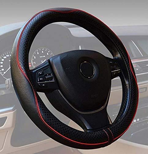 DongYuYuXuXi LKW-Lenkrad Mantel Leder, General Purpose 15 Zoll / 38cm Luftdurchlässigem Anti-Rutsch-Schutzhülle for Die Automobil/LKW/SUV/Van (Color : Red)