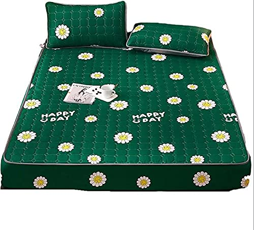 Sábana bajera ajustable de algodón cepillado y lavado con 2 fundas de almohada adecuadas para colchones con una profundidad de 5 a 30 cm. Estilo 10 x 180 x 200 x 30 cm