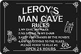 Tarika Leroy's Man Cave Open 24 Hours Affiche de Fer Vintage Peinture étain Signe pour Rue Garage Maison café Bar Homme Grotte Ferme décoration Murale Artisanat