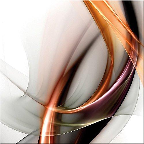 artissimo, Glasbild, 30x30cm, AG2087A, Fire & Light I, abstrakte Welle, Bild aus Glas, Moderne Wanddekoration aus Glas, Wandbild Wohnzimmer modern