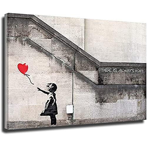 Leinwandbild Banksy Mädchen mit rotem Ballon There Is Always Hope, gerahmt, 80 x 120 cm