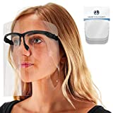 TCP Global Salon World Safety Face Shields with Black Glasses Frames (Pack of 4) - Ultra Clear Protective Full Face Shields to Protect Eyes, Nose, Mouth - Anti-Fog PET Plastic, Goggles