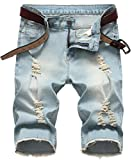 GARMOY Men's Casual Ripped Denim Shorts Jeans Distressed Stretchy Jeans Shorts Pants 06 Retro Blue 40