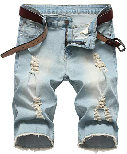 GARMOY Men's Casual Ripped Denim Shorts Jeans Distressed Stretchy Jeans Shorts Pants 06 Retro Blue 36