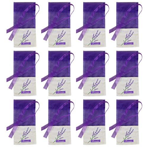 Yardwe Lavendel Beutel Leere Tasche Duft Lavendelsäckchen Baumwolle Gaze Süßigkeitstaschen Kordelzugbeutel Sack Motten Duftsäckchen Gewürzbeutel für Kleiderschrank 12 Stück