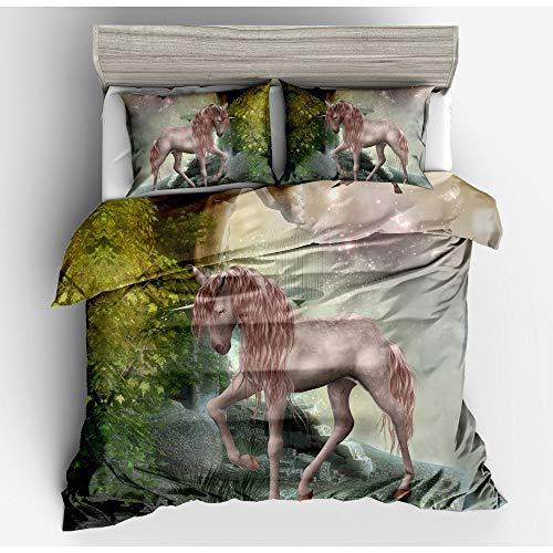 CBA BING Horned God Horse in Pink Mountain Forest 3D Bedding Duvet Cover Set,with Zipper Closure modern style 3 Pieces,A,200×200cm