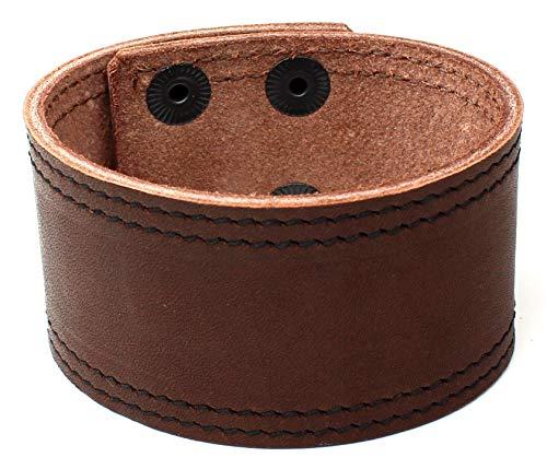 Sulla - Pulsera de piel ancha con botones a presión, hecha a mano en Alemania