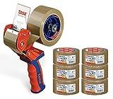 tesa Profi-Packband-Set - Handabroller Comfort + 6 Nachfüllrollen tesapack® ultra strong, braun (Handabroller + 6x Ultra Strong)