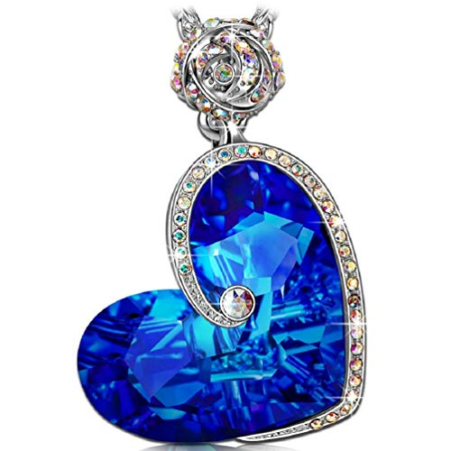 J.NINA Heart Christmas Necklaces Gifts for Women Sapphire Pendant Blue Swarovski Crystals Rose Flower Jewelry for women Anniversary Birthday Gift for Daughter Lover Niece Wife Girlfriend Sister Friend