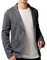 KMAZN メンズ テーラードジャケット カジュアル トップス 無地 長袖 キレイめ ジャケット ファッションスーツ