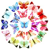 40 Pieces Organza Butterfly Colorful Two Layers Butterfly DIY Butterfly Wall Decor 3D Butterfly Ornament for Craft Wedding Ornament Appliques DIY Decoration (Fresh Butterfly Series)