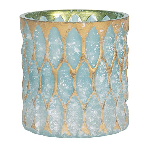 Clayre & Eef Glazen Theelichthouder 6GL2914S Ø 10 * 10 cm Blauw Glas Waxinelichthouder Windlichthouder