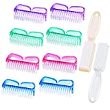 Handle Grip Nail Brush, Hand Fingernail Scrub Cleaning Brushes for Toes and Nails Cleaner, Pedicure Scrubbing tool kit for Men and Women 10 Pack (Multicolor)
