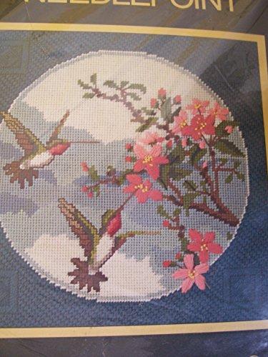 Sunset Needlepoint Kit, Hummingbirds and Cherry Blossoms, Designed By Barbara & Randy Jennings