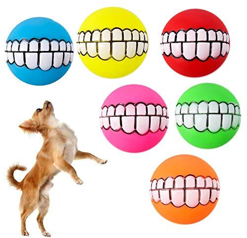 NALCY 6 STÜCKE Lustiger Hundeball, Hund Quietschende Spielzeug Quietschende Kauspielzeug Hundeball mit Zahnpflege Latex Weiche Hundespielzeug Gummi