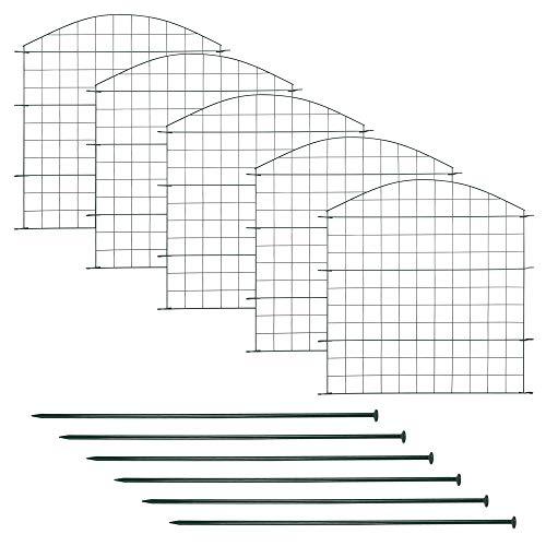 Edaygo Teichzaun Gartenzaun Gitterzaun, Oberbogen, Sparset, 11-teilig, 5 Zaunelemente, 6 Befestigungsstäbe, Metall Rostfrei, Grün, Länge 3,75 m
