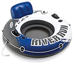 Have fun floating in the pool or at the lake with the Index River run I Designed with a built-in backrest for easy cruising and a mesh bottom that keeps you cool An all around grab rope is included for ease of use 53 inches Diameter circle Mesh botto...