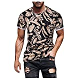 Tops for Men Colorful 3D Printed Round Neck Short Sleeve Slim Fit Fashion T-Shirt Summer Lightweight Baggy Blouse