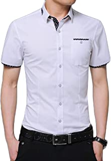 Hajotrawa Mens Inner Contrast Short-Sleeve Button Front Slim Dress Shirt