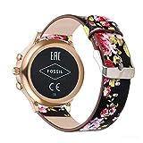 YOOSIDE für Fossil Damen Venture Armband,18mm Schnellverschluss Leder Replacement Uhrenarmbänder Wechselarmband für Fossil Damen Venture 3/4/HR 4,Ticwatch C2 Rose Gold (Rote Blume)