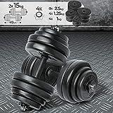 Physionics Set di Manubri - 30kg (2x15kg), Regolabili, Asta in Ferro - Peso a Scelta - Dischi, Pesi, Palestra, Fitness, Allenamento