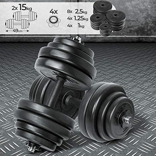 Physionics® Kurzhantel Set 30 kg (2 x 15 kg) - inkl. 16 Gewichte aus Kunststoff, 2 Hantelstangen und 4 Sternverschlüssen aus Metall, Griff gerändelt aus Kunststoff, Ø 25mm - Hantelstangen, Kurzhanteln