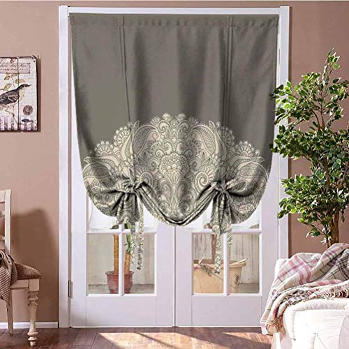 Drapes and Curtains Oriental Window Blind Fabric Curtain Drapery Half Figure with Rich Floral Curls Traditional Vintage Motif for Windows, Doors Beige and Dark Taupe Rod Pocket Panel, 31'W x 63'L