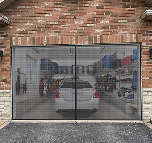 Garage Door Screen for 1 Car Garage with Zipper - 8 x 7 FT Durable Heavy Duty Fiberglass Mesh Enjoy Breeze Bottom Weighted Cover Net for Single Garage Car Door Patio Workshop
