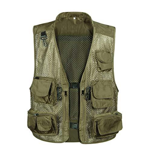 CNBPLS Chaleco de malla con múltiples bolsillos para hombre, chalecos de trabajo para deportes al aire libre, chaleco de pesca, caza, viajes, fotografía, 7, L