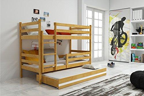 Interbeds Etagenbett Eryk 3 (für DREI Kinder) aus Kiefernholz 160x80cm, mit Lattenroste und Matratzen (Kiefer + weiße Schublade)