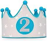 Kembilove Corona de Cumpleaños para Bebe – Coronas para Fiestas Segundo Cumpleaños – Coronas Cumpleaños Infantiles para Niños y Niñas – Coronas Ideal para Fotos y Fiestas de Cumpleaños Estrellas Azul