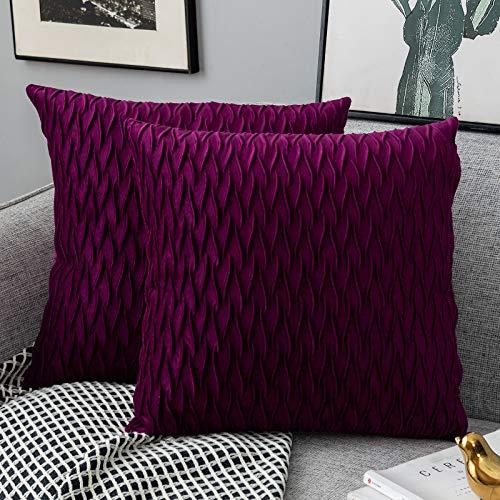 Yamonic Kissenbezüge Set Samt Soft Solid Dekorative Kissen Fall für Sofa Schlafzimmer 40cmx40cm 2er Pack für Couch Bett Sofa Stuhl Schlafzimmer Wohnzimmer, Lila