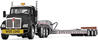 First Gear 1/50 Scale Diecast Collectible Black/Silver Kenworth T880 with Tri-Axle Lowboy Trailer (50-3391)