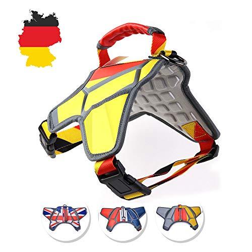 WEETALL Massage Hundegeschirr, Brustgeschirre für Kleiner und Mittlerer Hunde, Einstellbar Atmungsaktiv, Deutsche Flagge Thema