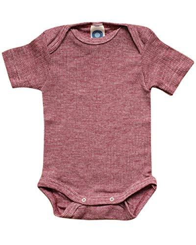 Cosilana, Body de manga corta, 45% algodón KBA 35% lana de cultivo ecológico y 20% seda. Color rojo vino. 86 cm-92 cm