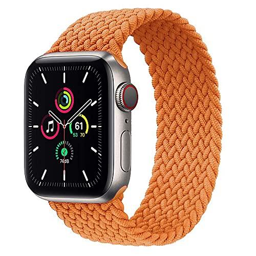 Leishouer Braided Solo Loop Armband Kompatibel mit Apple Watch Armband 40/38mm 44/42mm, Elastisches Ersatzarmbänder für iWatch Serie 6 5 4 3 SE Strap (42mm/44mm-M, Orange Gelb)