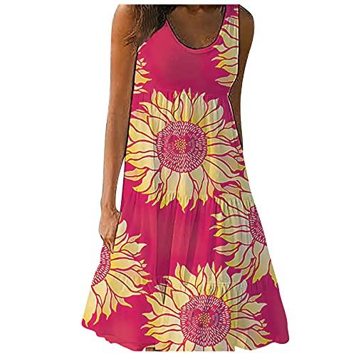 Pangki - Vestido de playa con estampado floral sin mangas para mujer rojo L